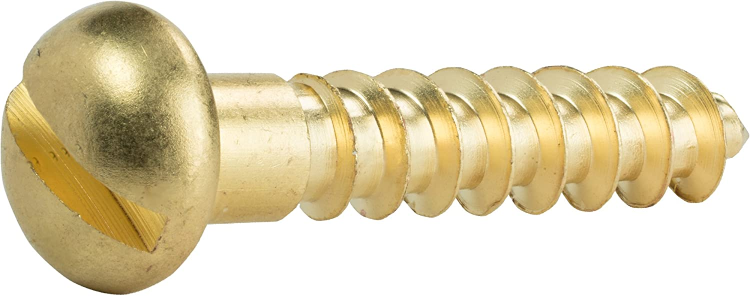 Partially Threaded #8 x 1 Round Head Wood Screws Slotted Drive Quantity 50 Solid Brass