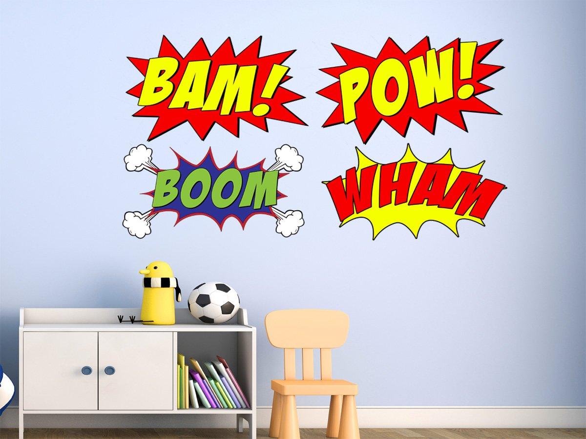 amazon com comic book set of 4 wall decal sound effects comic amazon com comic book set of 4 wall decal sound effects comic book bam pow boom wham pack of superhero vinyl wall art peel and stick stickers vwaq cb5