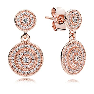 bcd475608 Amazon.com: Pandora Radiant Elegance Rose Gold Drop Earrings With Clear CZ  280688CZ: Jewelry