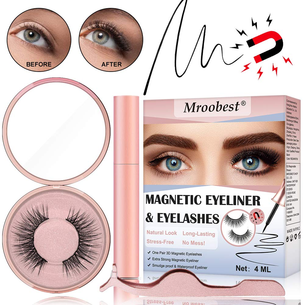 Magnetic Eyeliner Kit, Magnetic Eyelashes with Eyeliner, Magnetic Eyeliner and Magnetic Eyelash Kit, Reusable Magnetic Eyelashes & Tweezers - Natural Charming Look, No Glue Needed by CIDBEST