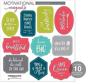 Motivational Magnet Sheet, 1 Sheet of 10 Magnets, Girl Power Locker Magnets, Positive Affirmation Refrigerator Magnets