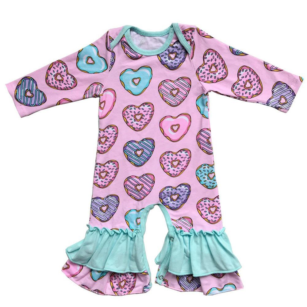 Love Heart 1 Printed Newborn Baby Girl Infant Long-Sleeved Bodysuit Jumpsuit Outfits