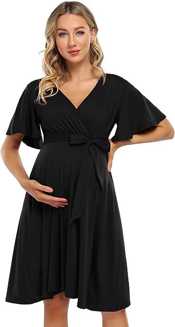 Pregnant Women Floral Wrap Belt Long//Short Dress V Neck Maternity Summer Dresses