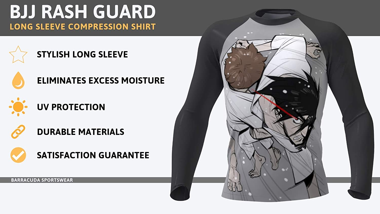 Cool Dry MMA Anime Design Barracuda Sportswear Men/'s Long Sleeve Compression Shirt Wrestling Sports BJJ Rash Guard
