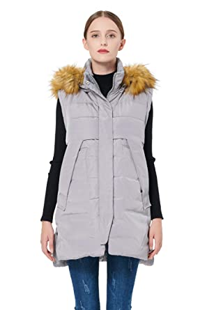 4714b9810759 Orolay Women's Winter Long Down Vest with Faux Fur Trimmed Hood Casual Zip  up Grey XS