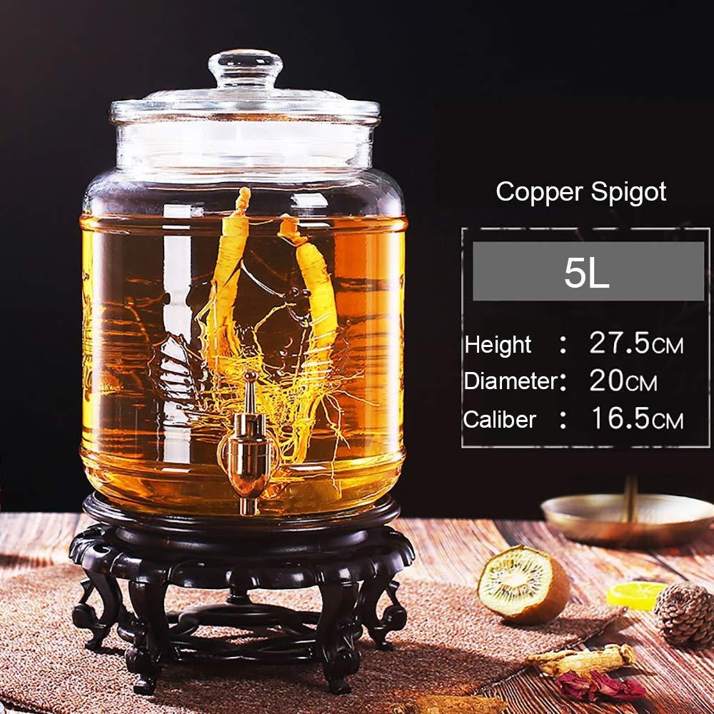 5L ~ 20L Dore Home Dispensador De Bebidas De Tarro De Cristal Redondo con Espita De Metal Y Tapa De Vidrio Color : 12.5L-Copper Spigot