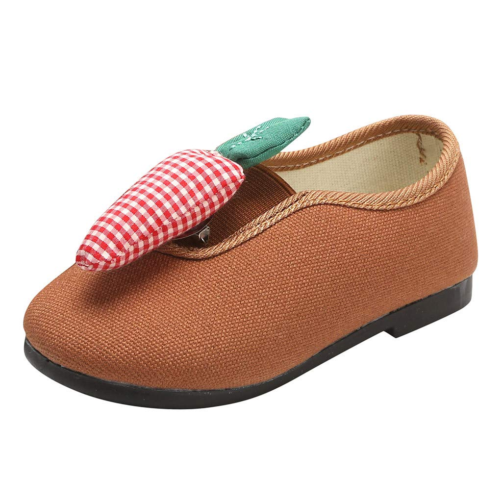 Tantisy ♣↭♣ Girl's Casual Comfy Slip-on Sock Shoes Detachable Fruit Decoration Pop Flat Loafers (Toddler/Little Kid/Big Kid) Brown