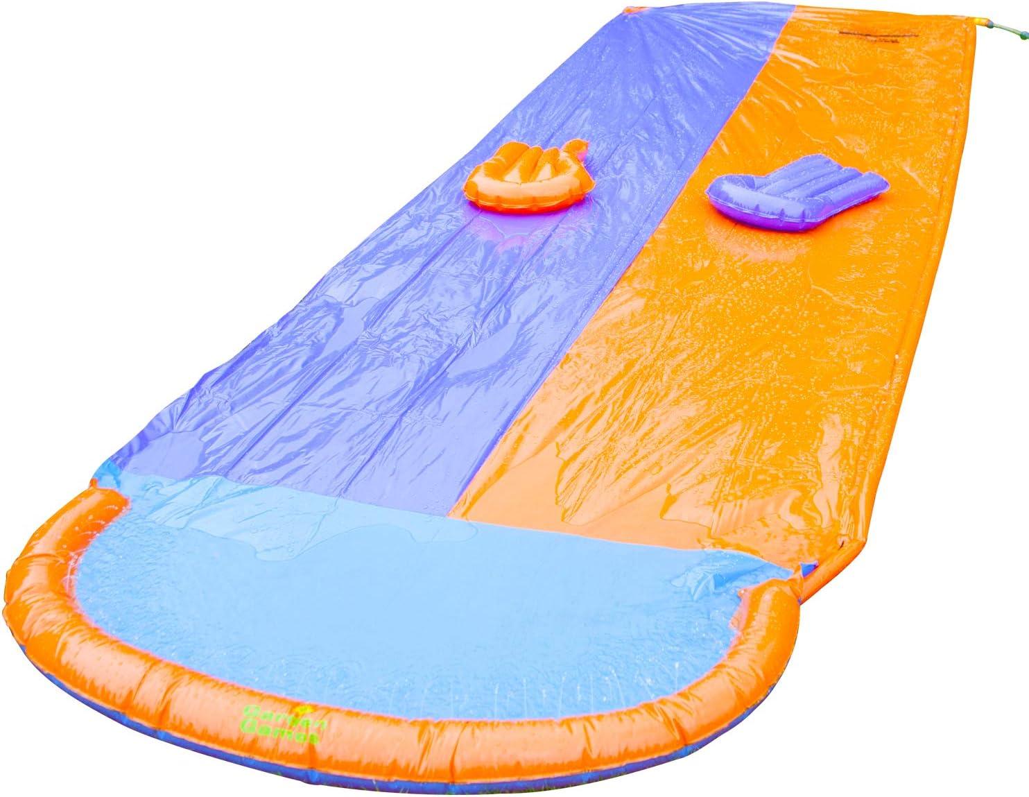 KiGoing Tapis De Glisse /À Eau Gonflable Double Piste Toboggan Piscine,Enfants Toboggan Aquatique Jardin Course Double Toboggan Aquatique Jouet D/ét/é Fournitures De Plein Air