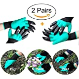 2 Pairs Garden Gloves KIADC Rubber latex Gardening Gloves with Claw Fingers for Garden Nursery Digging Planting