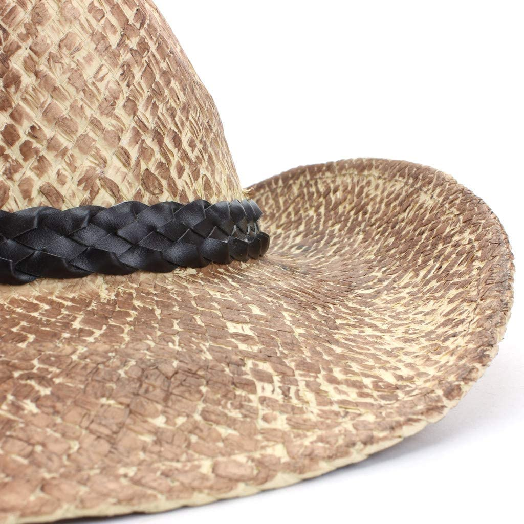 Hawkins Weathered Vintage Effect Straw Cowboy Hat with Braided Leather Band