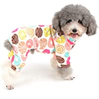 Zunea Small Dog Jumpsuit Pyjamas Overalls Soft Cotton Rompers Adorable Donut Printed Puppy Sleeping Clothes Four Legs Pjs Apparel for Pet Cats Pups XXL