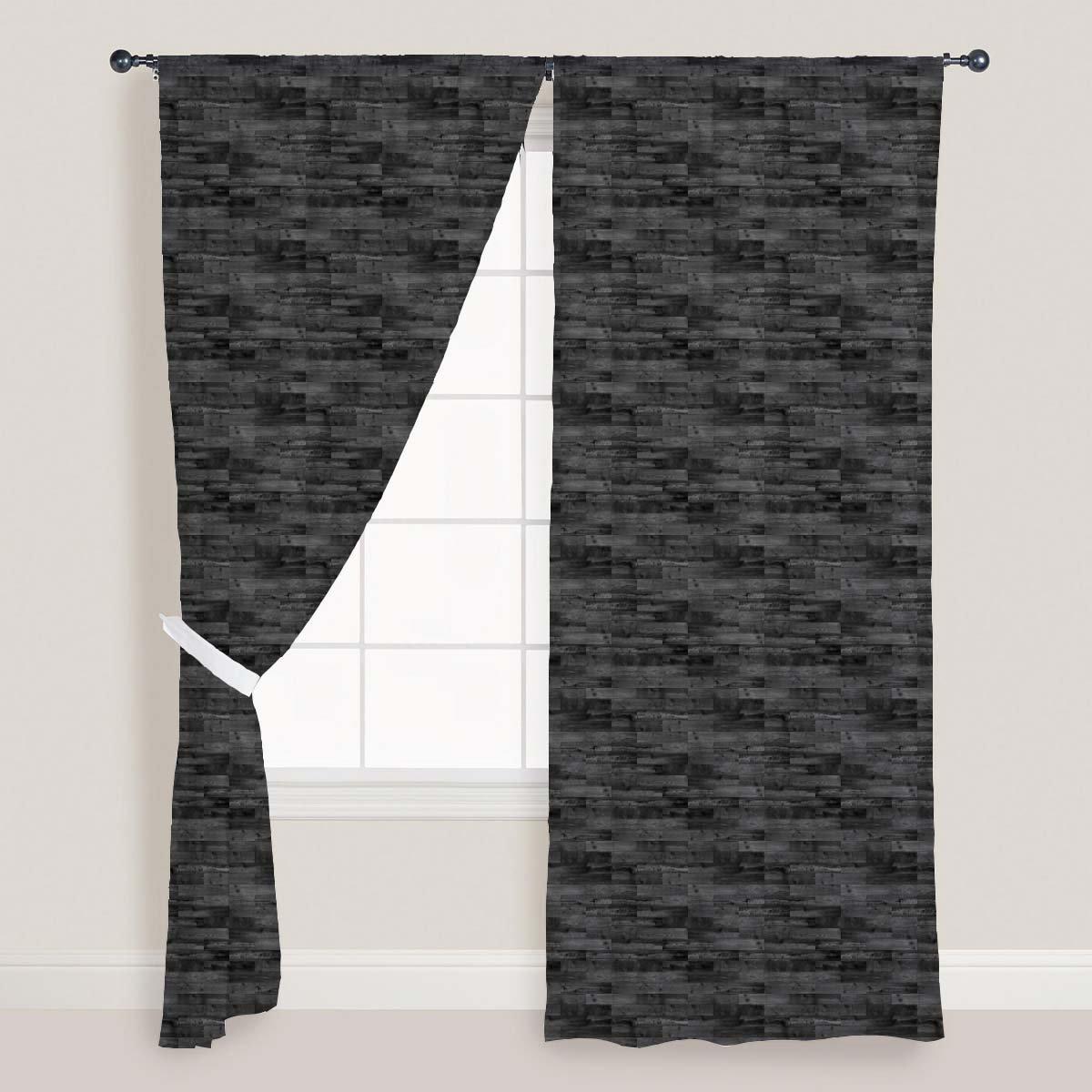 AZ Dark Parquet Door & Window Curtain Satin 4feet x 9feet; SET OF 3 PCS