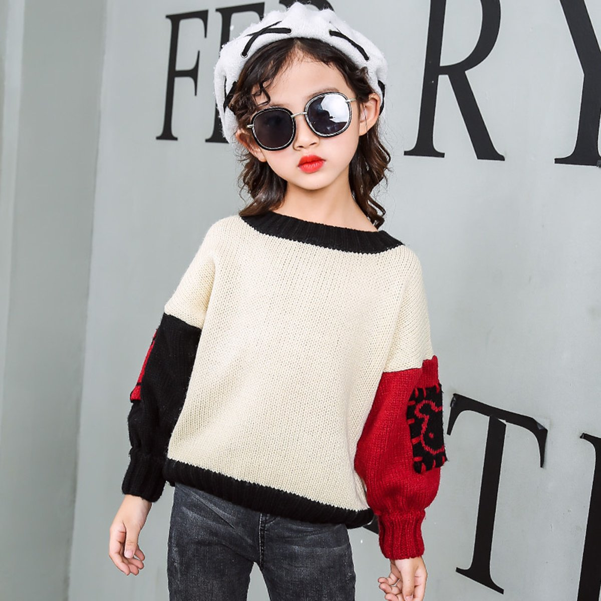 Girls Fashion BF Style Loose Color Block Knitted Sweater Round Neckline Sweatershirt