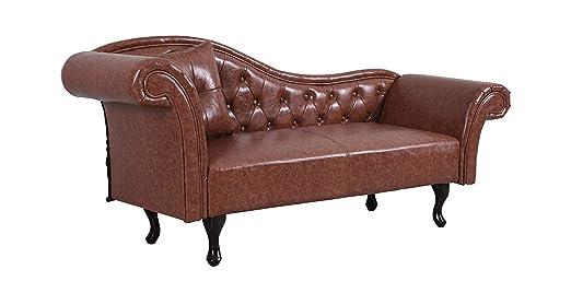 Vintage sofá Chesterfield - Sofá marrón Acolchado sofá ...