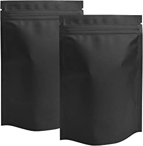 STUs 100 Pack Smell Proof Stand-Up Bags - 4 x 6 Inch Resealable Mylar Bags Foil Pouch Double-Sided Ziplock Bag Matte Black