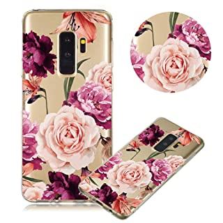 Soft Clear Case for Samsung Galaxy S9,Flexible Plastic Case for Samsung Galaxy S9,Moiky Creative Black Lace Flower Printed Ultra Thin TPU Gel Silicone Transparent Crystal Slim Fit Back Cover Case