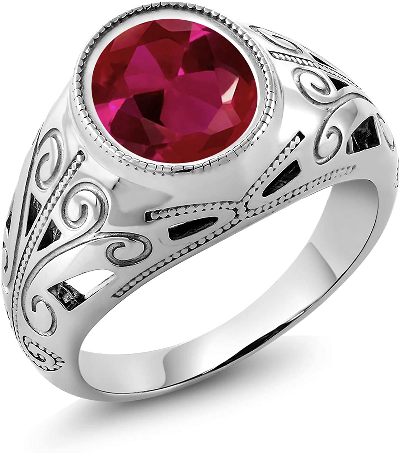 Gem Stone King 925 Sterling Silver Oval Red Created Ruby Men's Ring 6.40 Ct (Available 7,8,9,10,11,12,13)