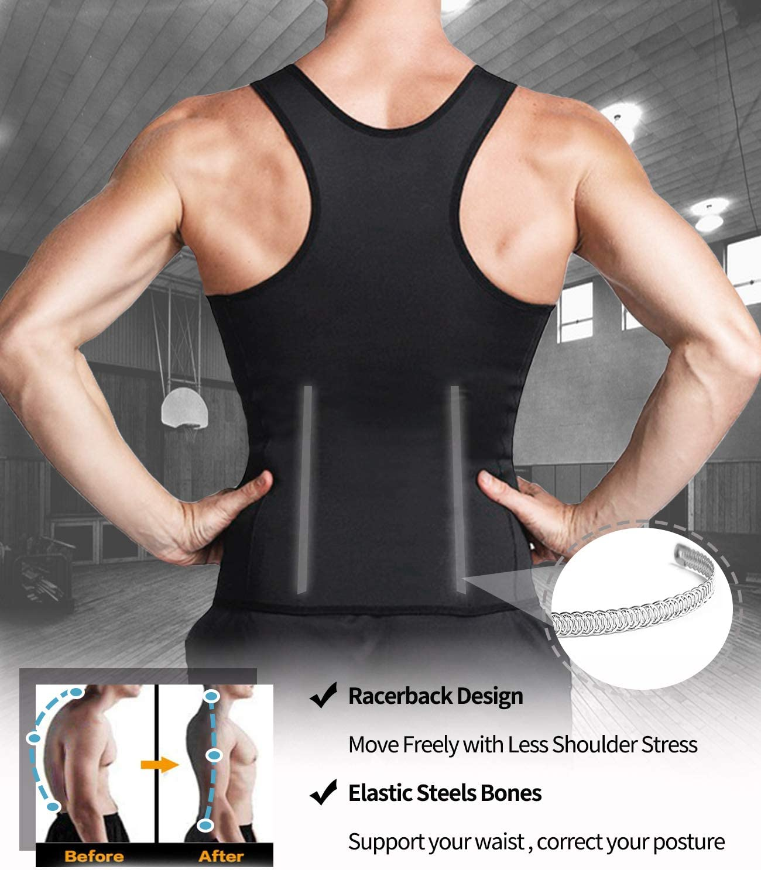 DUROFIT Sauna Suit Men Zipper Weight Loss Sauna Vest with 3 Rows Hooks Fat Burner Neoprene Tank Top for Workout