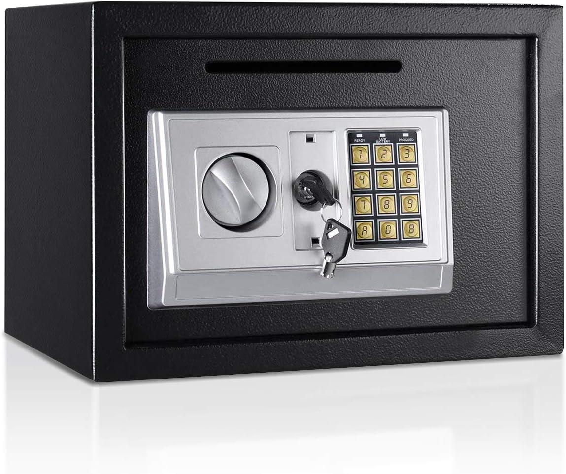 "Giantex 14"" Digital Depository Drop Gun Jewelry Home Hotel Lock Cash Safe Box (Black) - -"