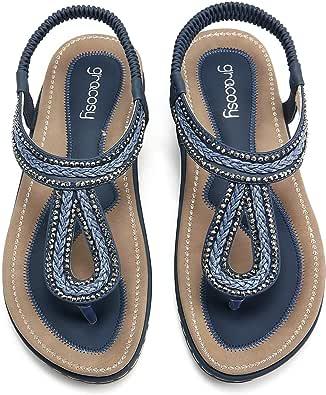 gracosy Tangas för kvinnor, platta sandaler öppen spets sommar tofflor sllingback flip flops klassiska tangas T-rem bohemisk strass sommar strand skor svart blå, flera