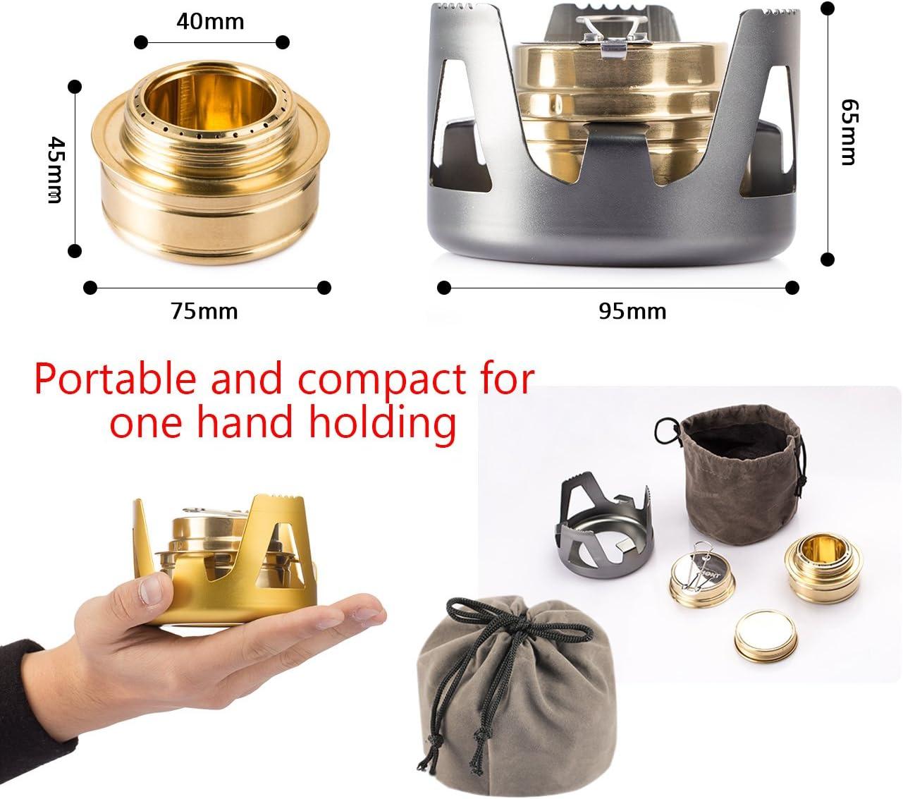 Overmont Mini Estufa de alcohol de cobre, hornillos de acampada con soporte de aleación de aluminio cortavientos portátil color Oro /Gris /Verde de ...