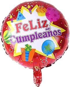 NUOLUX 18 Pulgadas de Forma Redonda española Feliz cumpleaños Foil Mylar Globos para la decoración de la Fiesta de cumpleaños (1): Amazon.es: Juguetes y juegos