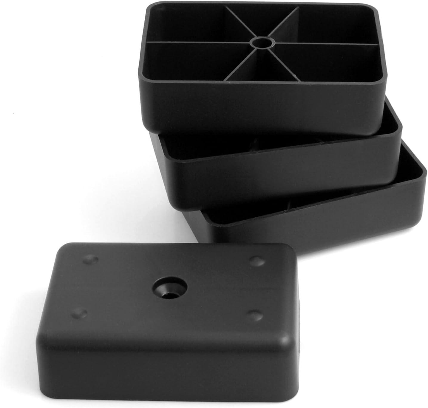 Design61/Juego de 4/Sof/á patas de pl/ástico para muebles muebles Posavasos sof/á sill/ón para atornillar para muebles pl/ástico rectangular en negro