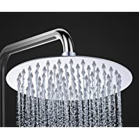 10-inch Ultra-Thin Round Stainless Steel Rain Shower Head Rainfall Bathroom Sprayer Wall Mount