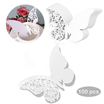 lzhoo 100 piezas Tarjeta de lugar de mariposa/tarjetas nombre/nombre lugar, para a la boda, cumpleaños o fiesta de la decoración: Amazon.es: Hogar