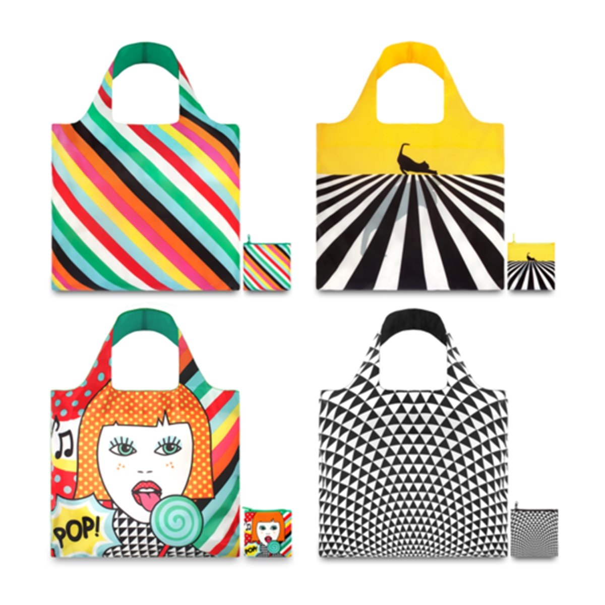 LOQI Pop Collection Pouch Reusable Bags, Multicolored, Set of 4 by LOQI B00FPXOCWO