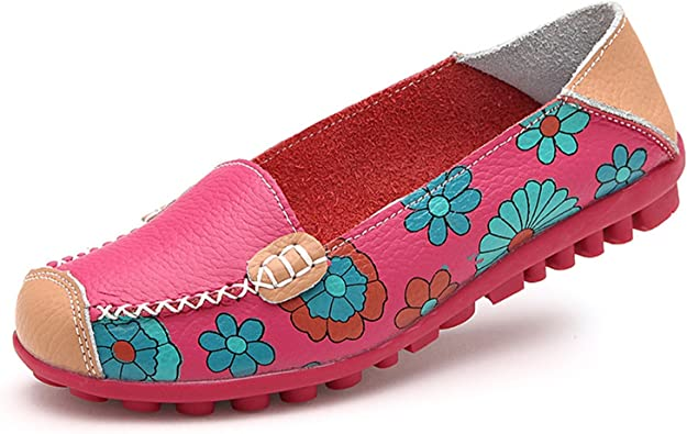 Baqijian Women Flats Breathable Casual Wear Shoes Slip-On Round Toe Appliques