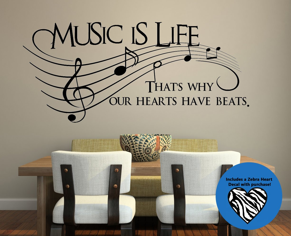 amazon com music is life that s why our hearts have beats vinyl that s why our hearts have beats vinyl wall decal sticker art 23