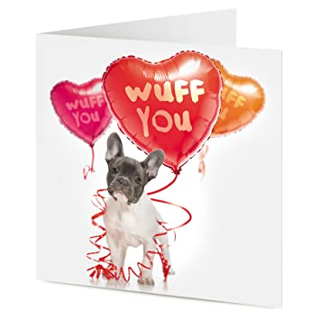 Wuff You Cute French Bulldog With Heart Shaped Balloons Valentine