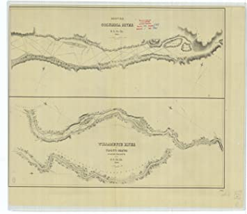 Amazoncom 18 X 24 Canvas 1841 Us Old Nautical Map Drawing Chart - Columbia-river-map-us