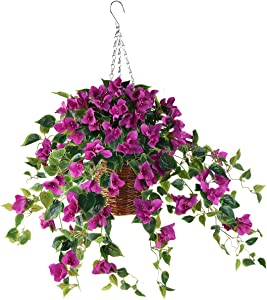 INQCMY Artificial Flowers Hanging Basket with Bougainvillea Silk Vine Flowers for Patio Lawn Garden Decor,Fake Flower Centerpieces, Artificial Hanging Plant in Ivy Basket for Outdoor/Indoor(Purple)