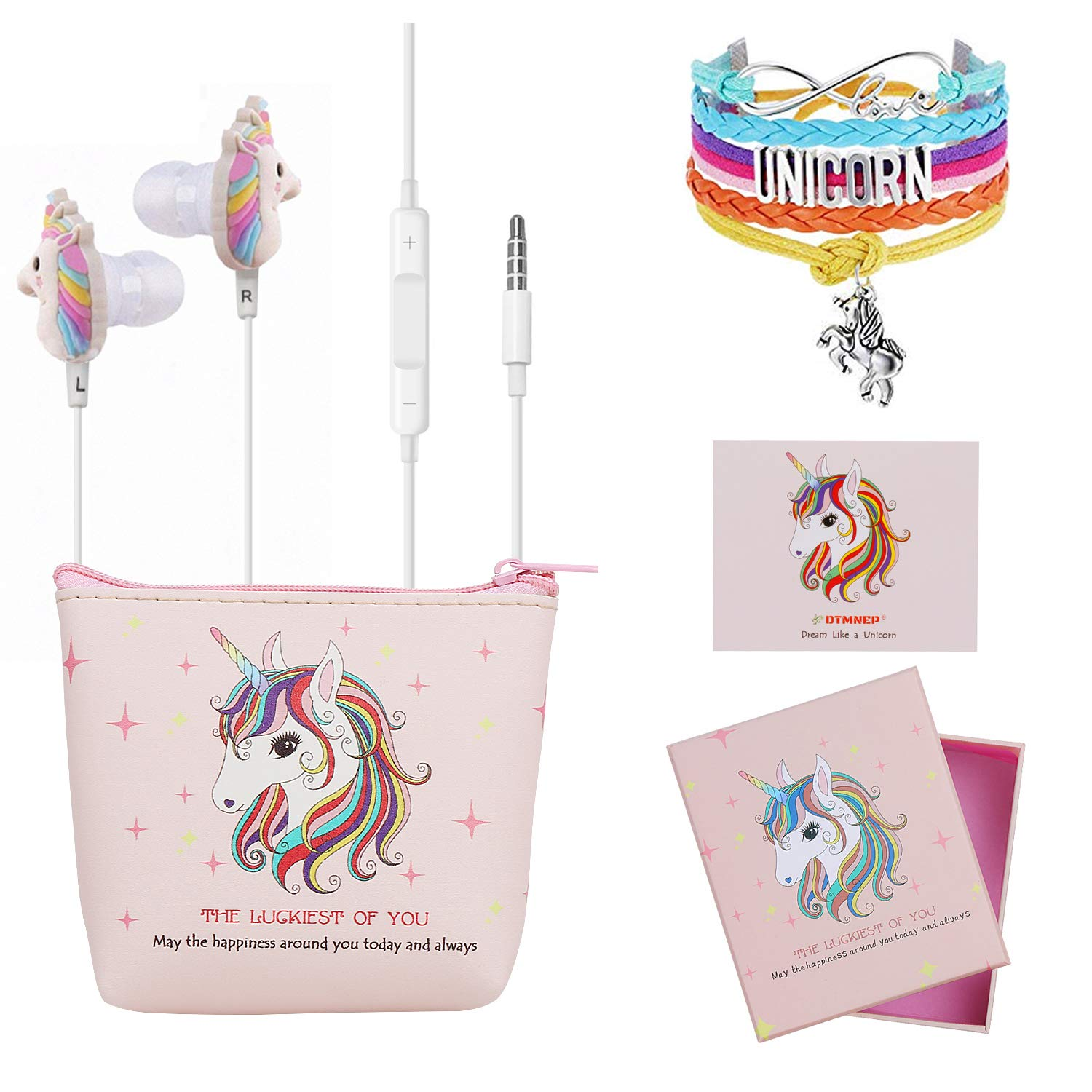 DTMNEP Unicorn Gifts for Girls – Earbuds Earphones for Kids Compatible with Apple Android with Rainbow Unicorn Bracelet Wristband Headphone Case Gift Card Gift Box, and Back to School Supply for Kids