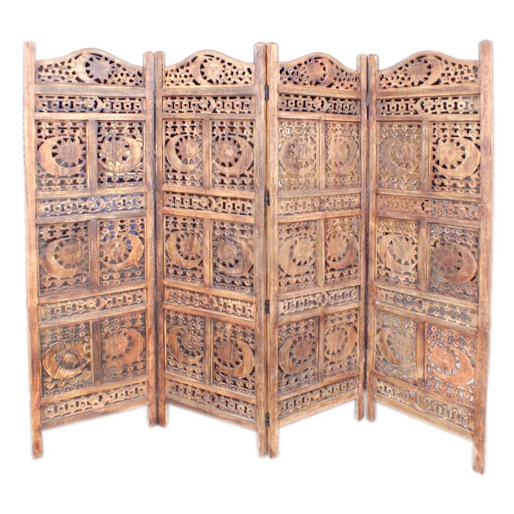 Benjara , Brown Hand Carved Sun And Moon Design Foldable 4-Panel Wooden Room Divider by Benjara