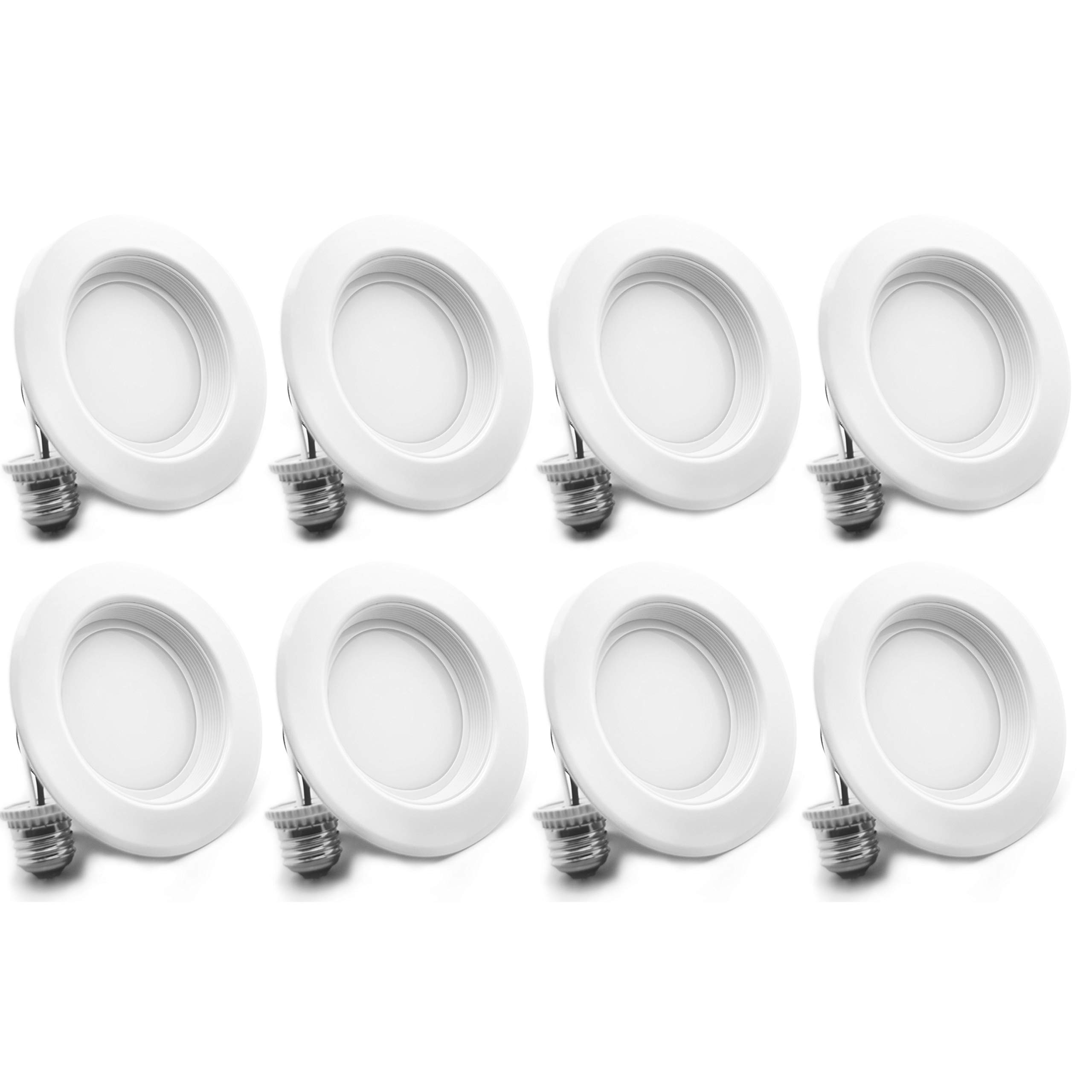 "Bioluz LED 4"" LED Retrofit Recessed Light 65W Equivalent (Using 10W) 700 Lumen, 90 CRI, Dimmable, UL-Listed CEC JA8 Title 24 Compliant (8-Pack, 3000K Soft White, Beveled Trim)"