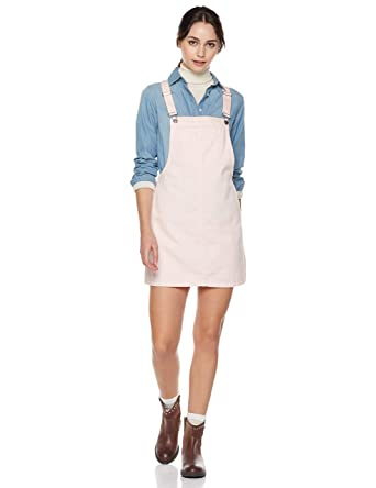 b08d45d694a Lily Parker Women s Classic Adjustable Strap Denim Overall Dress Small Pink
