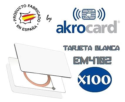 Pack 100 - Tarjeta PVC Blanca con Chip EM4102 a 125 kHz ...