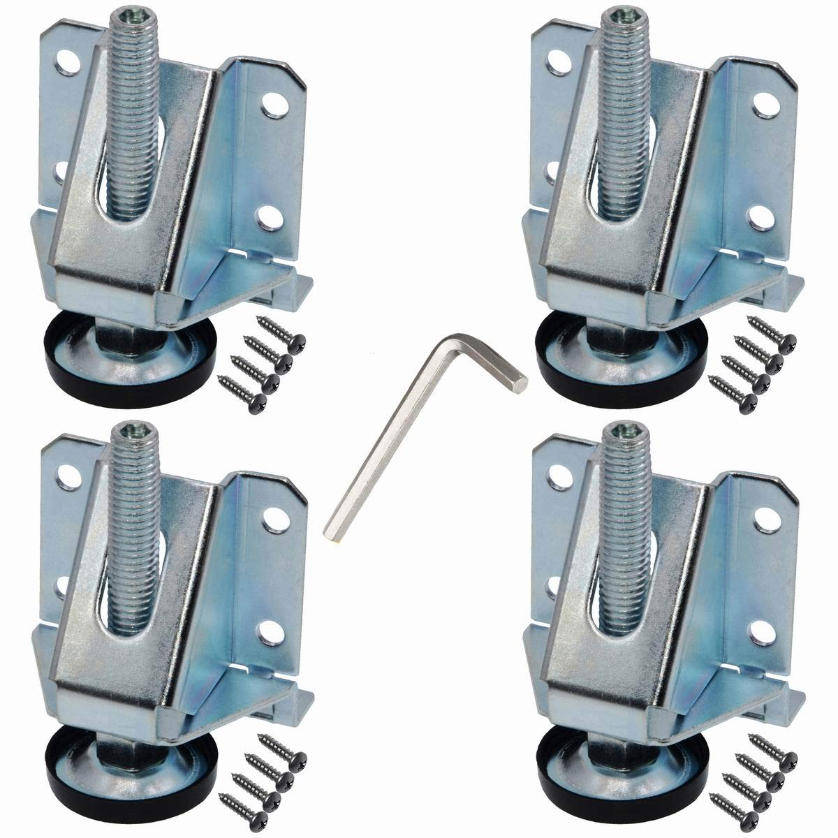 2 inch Height Adjustable Heavy Duty Furniture Legs Leveler Hexagon Nuts Lock (4 Pack)