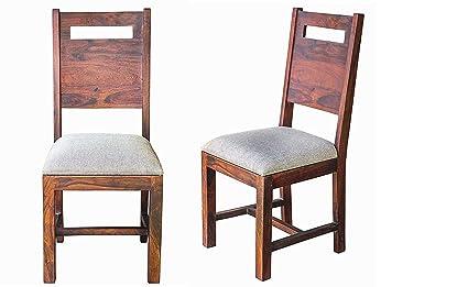 Shree Jeen Mata Enterprises Sheesham Wood Dining Chair | Home and Living Room | Set of 2 (Seat Cover)