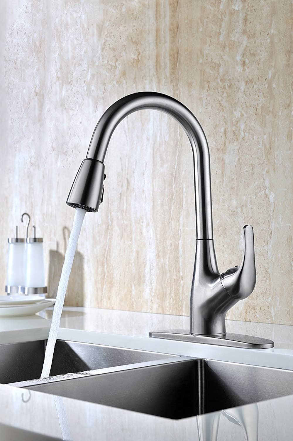 Purelux Tulip Single Handle Pull Down Kitchen Sink Faucet With Deck Plate,  Brushed Nickel Pull Out Kitchen Faucets With Sprayer High Arc Design      Amazon. ...