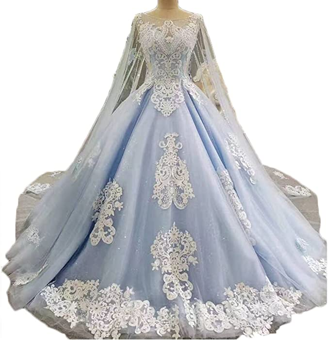 Women's Cape Blue Wedding Dress Lace Beaded