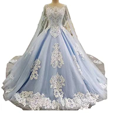 470612f751e Thrsaeyi Women s Cape Blue Wedding Dress Lace Beaded Ball Gown Bridal Gowns  for Bridal 2018 Sweetheart Quinceanera Dresses at Amazon Women s Clothing  store