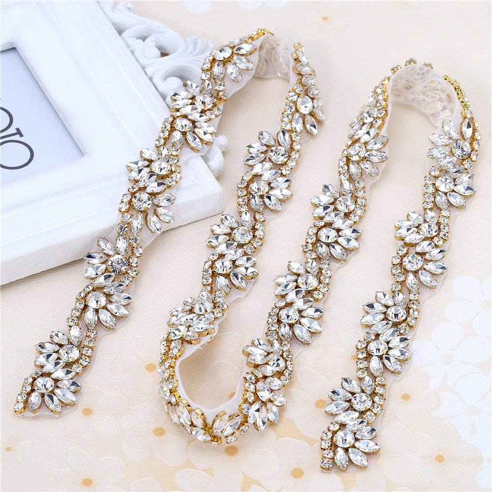Crystal Rhinestone Applique with Pearls for Bridal Belt Wedding Dress Garters Headpieces