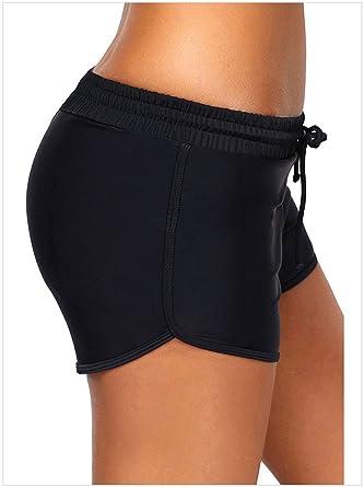 612fa61929f7d Tomlyws Women's Boy Leg Swim Shorts Black Beach Boardshorts Sports Bikini  Tankini Bottom S
