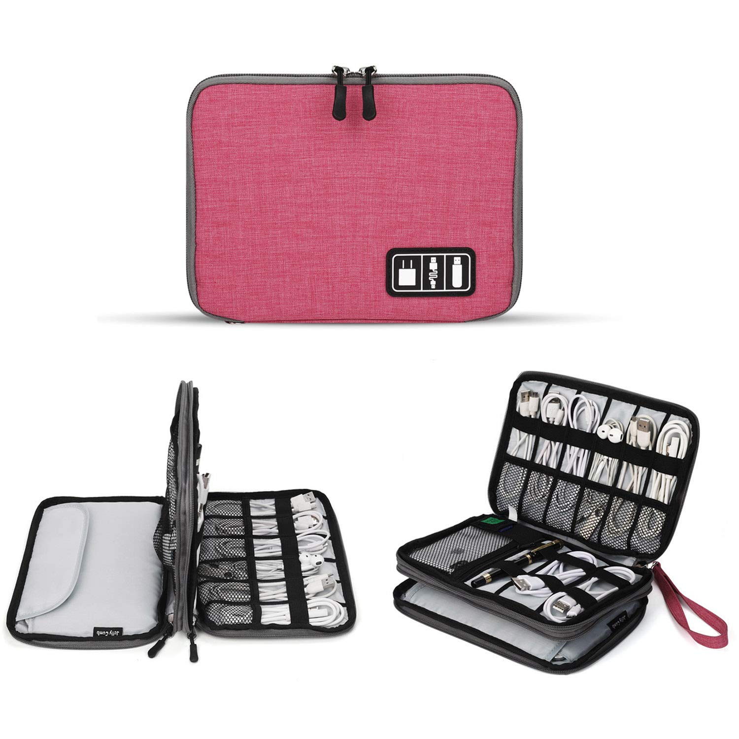 Electronics Organizer, Jelly Comb Electronic Accessories Cable Organizer Bag Waterproof Travel Cable Storage Bag for Charging Cable, Cellphone, Mini Tablet and More (Hot Pink)