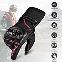 CARCHET Guantes de Moto Guantes con protección, de dedo completo Impermeables (L-2)