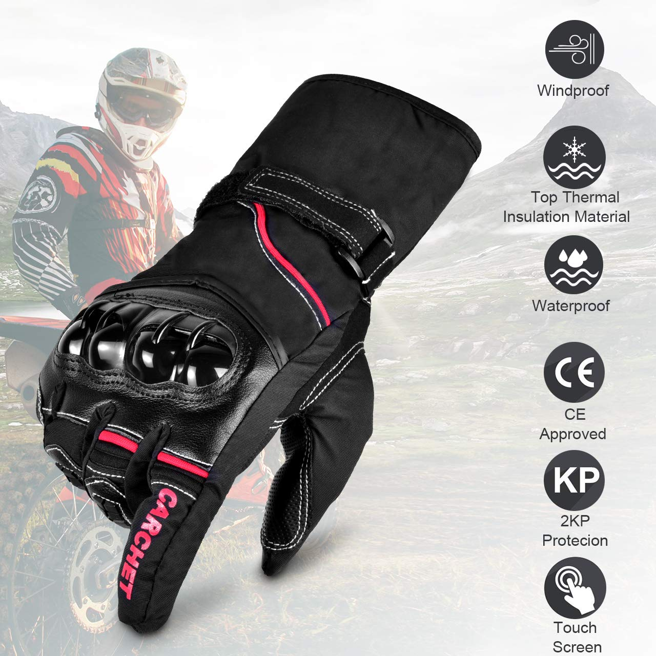 Guantes de Moto Invierno, CARCHET Guantes Impermeable de Pantalla Tá ctil Dedo Completo Anti-Viento para Motocicleta Excursió n Bici Ciclismo Deporte Talla XL guantes XL